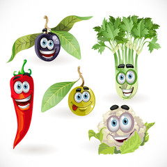 Funny cute vegetables smiles - celery, cauliflower, olives, chil