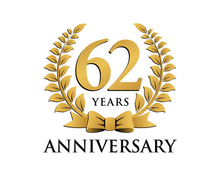 anniversary logo ribbon wreath 62