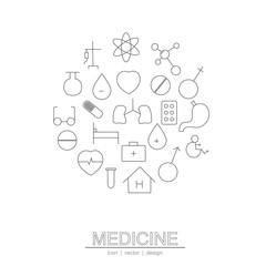 The circle line medicine icon