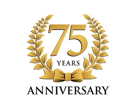 anniversary logo ribbon wreath 75