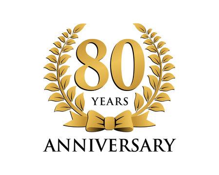 anniversary logo ribbon wreath 80
