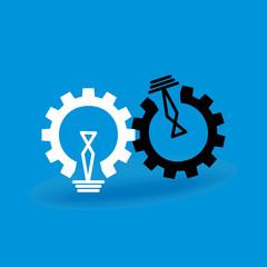 engineering wheel bulb vector illustration
