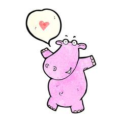 cartoon hippo in love