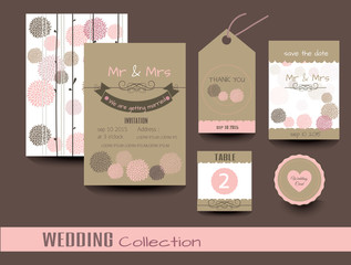 Set of wedding cards. Wedding invitations, Thank you card, Save