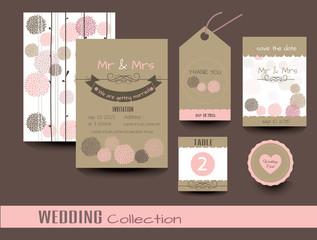 Set of wedding cards. Wedding invitations, Thank you card, Save