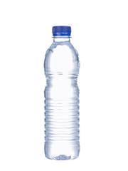 Single bottle of water isolated on white background