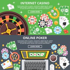 Internet casino, online poker flat illustration concepts set
