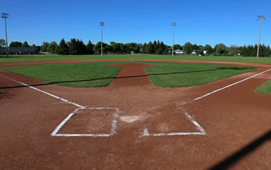 A wide angle shot of a baseball field..