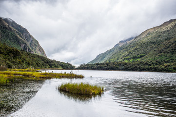 Landscape of the Cajas National Park (Parque Nacional Cajas), a national park in the highlands of Ecuador