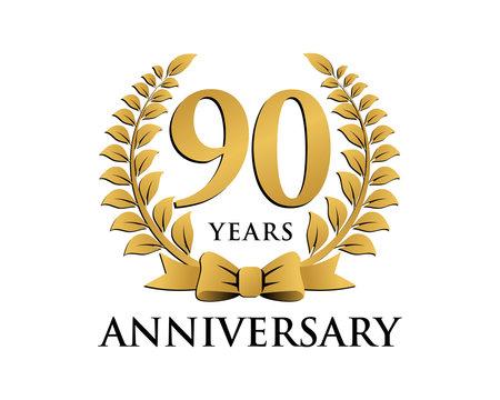 anniversary logo ribbon wreath 90