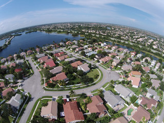 Suburban homes in Florida aerial