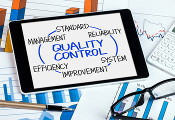 quality control concept diagram hand drawn on tablet pc
