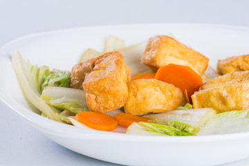 fried tofu with chinese pechay and oyster sauce