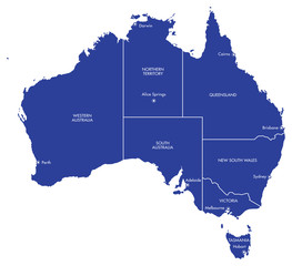 Vector map of Australia with Cities and States