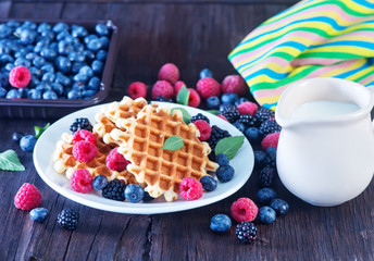 wafels with berry