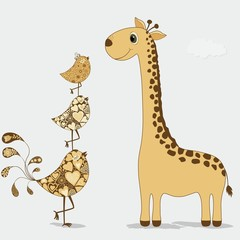 Cute cartoon giraffe and birds
