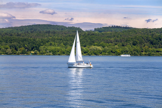 Small sail boat on Lake Constance (Bodensee, Konstanz), Germany