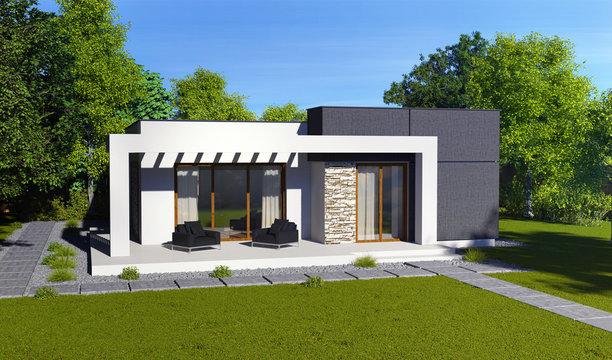 Красивый современный дом в зелёном саду с ровно подстриженным газоном
