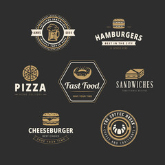 Fastfood Retro Vintage Labels as Logo design vector template set