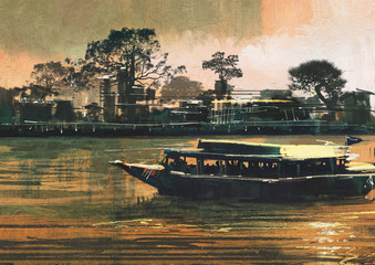 painting showing ferry carries passengers on river