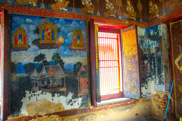 Beautiful Scene Painted on a Temple,Ayutthaya,Thailand.