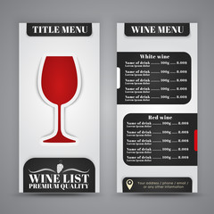 Menu Design for wine cafes, restaurants