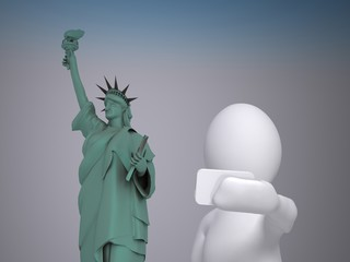 3d abstract human, white man taking selfie in front of Statue of Liberty