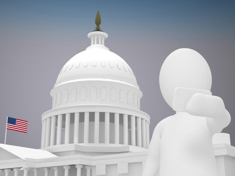 3d abstract human, white man taking selfie in front of White house in Washington