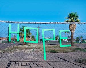 Hope sign in urban setting