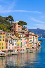 Beautiful houses on the coast of the Ligurian sea in Portofino, Italy