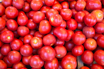 Red frech tomatoes on farm market
