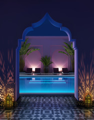 Moroccan riad courtyard with a swimming pool