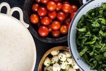 Preparation ingredients for italian salad
