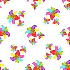 Seamless pattern with lily on a white background