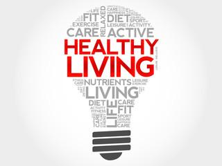Healthy Living bulb word cloud, health concept