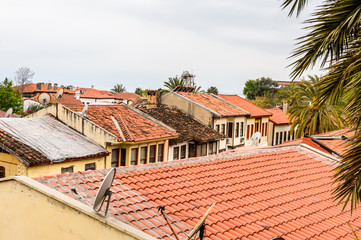 Panorama of the roofs in the Historic part of Antalya (Kaleici), Turkey