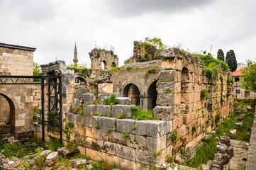 Ancient ruins in the historic part of Antalya, Turkey