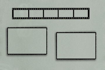 Photo frame with film strip and two rectangular frames