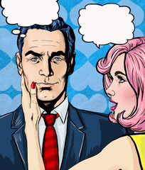 Pop Art couple conversation.Love couple.Pop Art love.