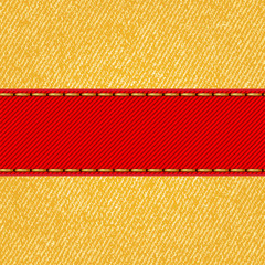 Fabric texture with label ribbon. Vector
