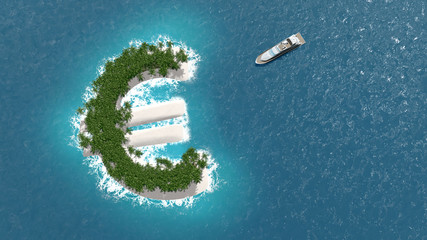 Paradis fiscal, financier ou évasion des fortunes sur un île en forme d'euro.