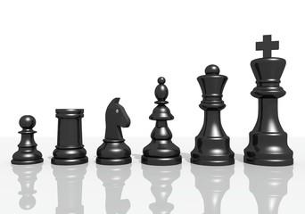 Schachfiguren nebeneinander schwarz