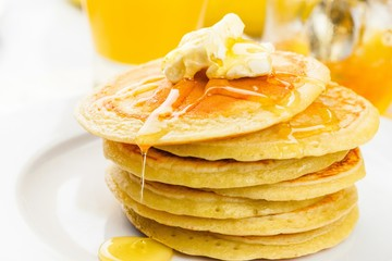 Pancake, Breakfast, Eggs.