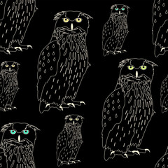 Owls, seamless pattern