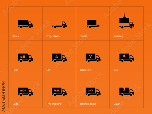 Truck And Delivery Icons On Orange Background Stock Image