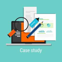 case study studies icon flat laptop magnifier
