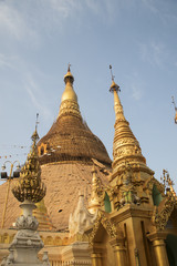 The Great Stupa of the Shwedagon Pagoda is covered in gold leaf which must be restore or replaced every five years or so.Yangon,Myanmar