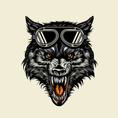 wolf head wearing a goggle