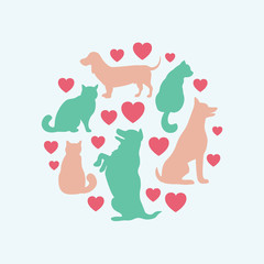 Cats and dogs vector silhouette round composition