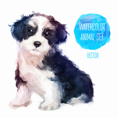 Vector dog hand painted watercolor illustration isolated on